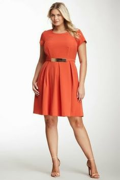 Sandra Darren Cap Sleeve Gold-Tone Waist Accent Dress - Plus Size Fat Fashion, Curvy Fashion, Plus Fashion, Womens Fashion, Plus Size Dresses, Plus Size Outfits, Dresses For Work, Cool Style, My Style