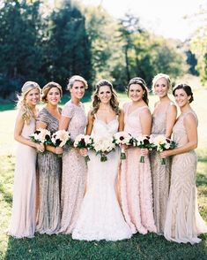 Wonderful Perfect Wedding Dress For The Bride Ideas. Ineffable Perfect Wedding Dress For The Bride Ideas. Fall Bridesmaid Dresses, Bridesmaids And Groomsmen, Wedding Bridesmaids, Wedding Dresses, Sparkly Bridesmaids, Fall Dresses, Long Dresses, Mix Match Bridesmaids, Bridesmaid Outfit
