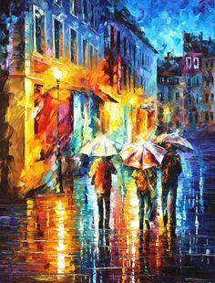 Three Umbrellas Friends — PALETTE KNIFE Oil Painting On Canvas By Leonid Afremov #AfremovArtStudio #afremov #art #painting #fineart