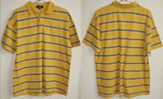 Genuine Vintage Fashion Designer Yellow Strip LE SHARK POLO SHIRT MENS Size L