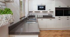 caesar stone piatra grey countertops white kitchen - Google Search