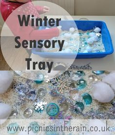 A sparkly winter sensory tray setup for toddlers. Lots of textures to explore and minimal mess! Toddler Learning Activities, Sensory Activities, Activity Games, Winter Activities, Toddler Preschool, Sensory Bins, Sensory Play, Investigation Area, Nursery Games