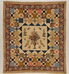From the collection of the American Folk Art Museum: Hewson Printed Center Medallion Quilt. center block printed by John Hewson in the United States between Cotton and possibly linen; Old Quilts, Antique Quilts, Vintage Quilts, Scrappy Quilts, Mini Quilts, Victorian Quilts, Quilting Projects, Quilting Designs, Quilting Ideas