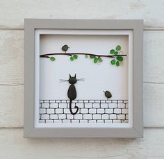 Fantastic and original sea glass art picture of cat sitting on wall watching bird in a sea glass tree. This pebble art comes in a lovely medium size shadow box frame. If you like this listing you might also like this Sea Glass Crafts, Sea Glass Art, Stained Glass Art, Glass Art Pictures, Pebble Pictures, L'art Du Vitrail, Art Pierre, Broken Glass Art, Unique Birthday Gifts