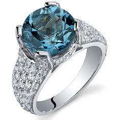 450 Carats London Blue Topaz Cluster Ring Sterling Silver Rhodium Nickel Finish Size 8 ** You can find out more details at the link of the image.