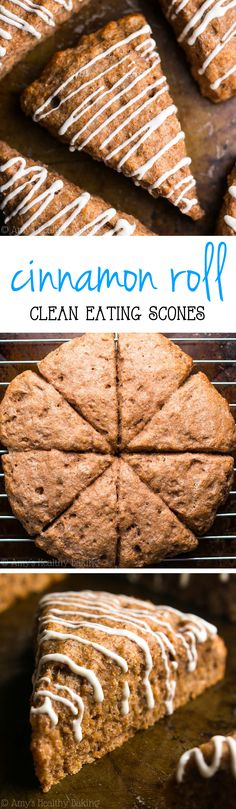 Healthy Cinnamon Roll Scones -- so easy, supremely tender & packed with 5g of protein! Ready in 30 minutes!