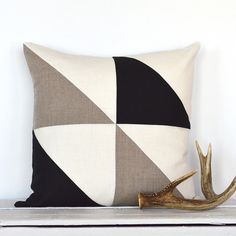 Triangle Modern Colorblock Pillow Cover Black / by celineandkate
