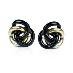 Gold & Onyx Love Knot Earrings (203.765 RUB) ❤ liked on Polyvore featuring jewelry and earrings