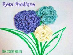 Free Crochet Pattern - Rose Applique