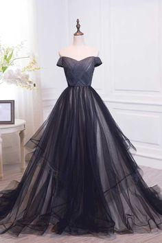 Black off shoulder tulle long prom dress, black evening dress
