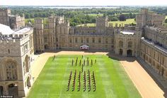 The grounds of Windsor Castle seen from above (pictured). The small, brief, military cerem... Abandoned Castles, Abandoned Mansions, Abandoned Places, Buckingham Palace Garden Party, Queen's Official Birthday, Trooping Of The Colour, Most Haunted Places, Duke Of York, Kingdom Of Great Britain