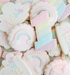 Baking Inspiration & Recipes - Custom cookies and other baked goods from Oakland, CA First Birthday Cookies, Rainbow First Birthday, First Birthday Party Themes, 1st Birthday Cakes, Baby Girl First Birthday, Birthday Party Decorations, Pastel Party Decorations, Birthday Ideas, Pastel Clouds