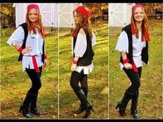 Pirate Costume Ideas DIY Projects | Do It Yourself Projects and Crafts Diy Pirate Costume For Women, Diy Girls Costumes, Female Pirate Costume, Horse Costumes, Girl Pirate Costumes, Costume Ideas, Pirate Halloween, Halloween Diy, Halloween Customs