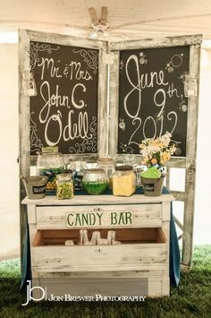 Wedding candy bar with personal touches that reflect the bride's personal style.  See more wedding candy buffets and party ideas at www.one-stop-party-ideas