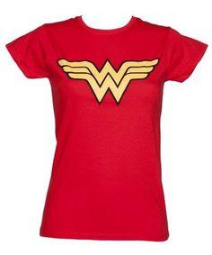 Ladies Red Wonder Woman Logo T Shirt http://order.sale/cDm