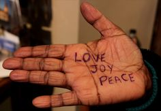 """Love Joy Peace""  A message of solidarity to survivors of torture from a Freedom from Torture supporter from Manchester  http://www.freedomfromtorture.org/feature/survivors_speak_out/5993"