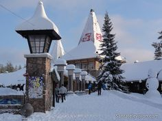 Santa Claus Village and the arctic circle line in Rovaniemi in Lapland