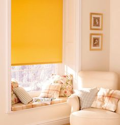 Yellow Blinds in neutral tone house Blinds For You, Blinds For Windows, Living Room Windows, Neutral Tones, Home Hacks, Your Space, Sweet Home, Fabrics, College