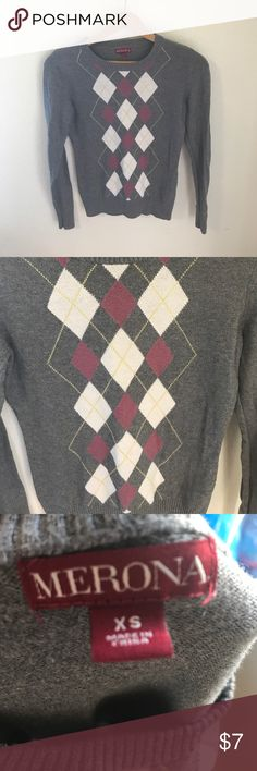 Gray argyle sweater size XS Merona Argyle Gray and Pink sweater size XS in great condition. Pit to pit measures approximately 15 1/2 inches while laying flat. Merona Sweaters