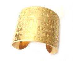 Anel folheado em ouro com Pai Nosso - Ladylike Bijuterias Finas