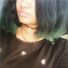 #green hair #greenhair #choker #croptop #tulsimala #half face #short hair #shorthair #black hair #blackhair
