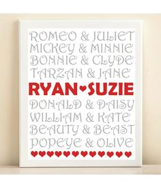 This is cute! Famous Couples Valentine's Day Typography Print by PlayOnWordsArt, $13.95