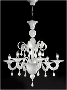 Venetian modern Murano glass modern chandelier for perfect interior design projects genuine Murano glass artwork and handcrafted lighting Murano glass lighting. Murano Chandelier, White Chandelier, Simple Chandelier, Crystal Lamps, Italian Chandelier, Home Lighting Design, Lighting Ideas, Porcelain Jewelry, Porcelain Ceramics
