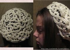 very cool crocheted knotwork hat - a long strip pinned to a pattern and then held together with thinner lines of crochet - in Russian, but with pics