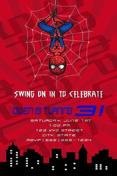 Spiderman Birthday Party Invitation