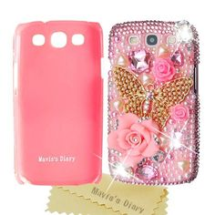 3D Handmade Crystal Series Flower Butterfly Rhinestone Pearl Diamond Design Hard Case Cover for Samsung Galaxy S3