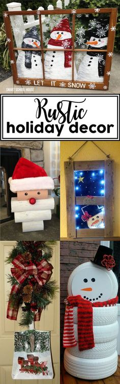 Rustic Holiday Decor - easy, inexpensive, and beautiful DIY rustic holiday decor ideas: wood pallets, reclaimed wood, and farmhouse style holiday decor.