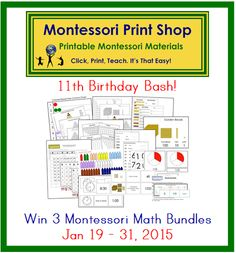 Win 75 printable Montessori Math Materials (includes materials for operations, extensions, and geometry). Open world-wide, Jan 19-31, 2015.