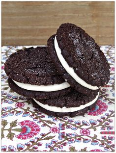 Cream filled chocolate cookies