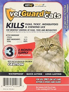 Vetiq VetGuard Flea  Tick Drops for Cats -- Check this awesome product by going to the link at the image.(This is an Amazon affiliate link)
