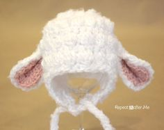 Lamb Hat Pattern Repeat Crafter Me: Crochet Lamb Hat free pattern-this is so adorable!Repeat Crafter Me: Crochet Lamb Hat free pattern-this is so adorable! Crochet Animal Hats, Crochet Baby Hats, Crochet Beanie, Cute Crochet, Crochet For Kids, Crochet Crafts, Baby Knitting, Crochet Projects, Knit Crochet