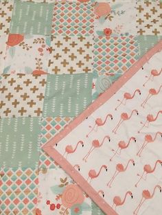 Baby quilt ~ girl quilt ~ blanket ~ crib quilt ~ nursery quilt ~ flamingo ~ floral ~ pink ~ gold ~ mint ~ geometric, Birch Tree Bundles