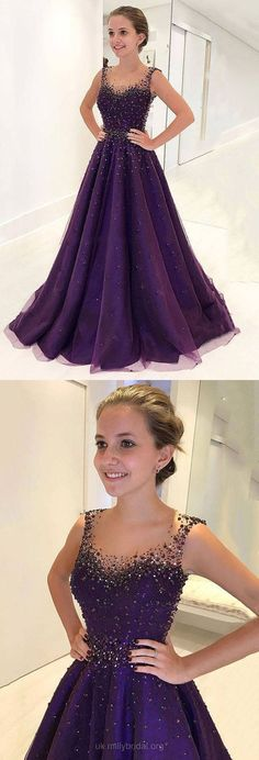 Long Prom Dresses Purple, Ball Gown Prom Dresses, Sweet Sixteen Prom Dresses for Teens, Tulle Formal Dresses Scoop Neck #fashiondresses#dresses#borntowear