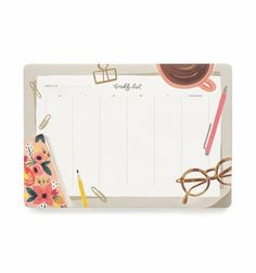 Rifle Paper desktop desk notepad Weekly Desk Pad includes fifty-two tear-off sheets to helpyou map out your week for a year. It's the perfect size to keepon your desk as a mouse pad and see your week at a glance. Designed by Rifle Paper USA Wedding Planner Office, Rifle Paper Company, Desk Supplies, Office Supplies, School Supplies, Cute Desk, Desk Pad, Holiday Wishes, Office Accessories