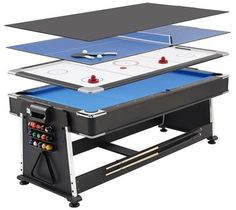 Revolver 3-in-1 Pool, Air Hockey and Table Tennis Table - 7ft