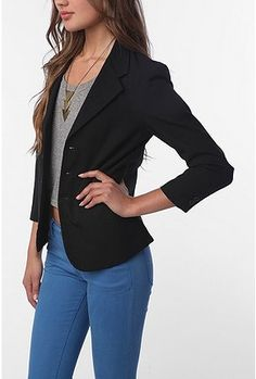 Business casual / liking the necklace with the outfit, but of course im buttoning blazer or wearing longer top