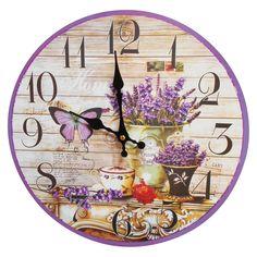Butterfly Flower Wall Clock Purple - Creative Motion Industries