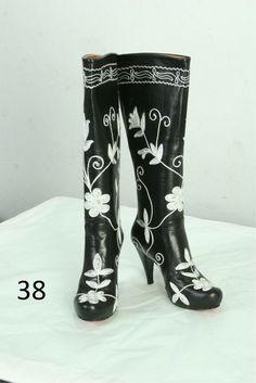 LEATHER SUZANI EMBROIDER KNEE HIGH BOOTS 6 - 11 M US #Handmade #FashionKneeHigh