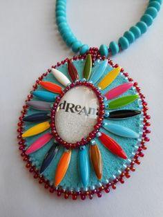 'Dream' - beaded glass cabochon, multi-colored petals, earrings