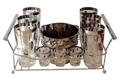 Silver Dot Glassware Set, Svc. 6