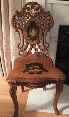 Antique Style: Sit by the Fire on a Black Forest Chair Art Deco Furniture, French Furniture, Wood Furniture, Furniture Hardware, Victorian Furniture, Antique Furniture, Vintage Sofa, Antique Chairs, Iron Decor