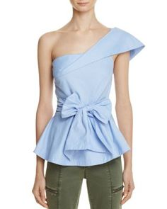JOA One Shoulder Solid Peplum Top - 100% Exclusive | Bloomingdale's