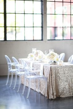 LOVE this silver sequin table cloth - so perfect with our hydrangea flower table centrepieces! Wedding Table, Our Wedding, Dream Wedding, Wedding Ideas, Wedding Reception, Fantasy Wedding, Wedding Bells, Wedding Stuff, Wedding Photos