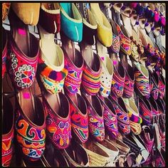 Pakistani khussa/slippers. They come in all sorts of colours & designs. Handmade leather & really comfortable.