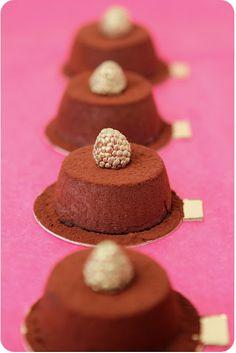chocolate custard with raspberry and truffle center. #shopfesta