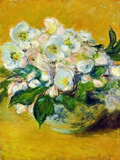 official photos 4fa43 b4d20 Christmas Roses -Claude Monet hand-painted oil painting reproduction,white  flowers fine art,office d
